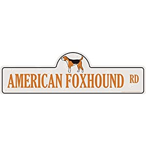 "American Foxhound Street Sign | Indoor/Outdoor | Dog Lover Funny Home Décor for Garages, Living Rooms, Bedroom, Offices | SignMission personalized gift | 20"" Wide Plastic Sign 7"