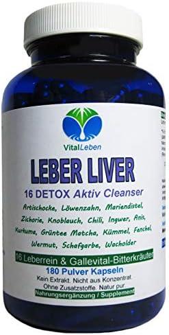Leber Liver 16 Reinigungskräuter DETOX Aktiv Cleanser Leberrein & Gallevital 180 Kapseln. 16 Bitterkräuter für Leber- & Fettstoffwechsel in EINEM, NATUR PUR. 26555-180