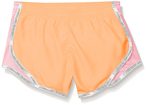 Soffe Girls' Big Team Shorty Short Poly, Sun Coral/Pink Lemonade/Silver, Medium ()