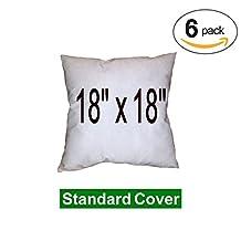 "Pillow Inserts - 100% Polyester Fibre Filled - Regular Shell (6-Pack) (18"" x 18"")"