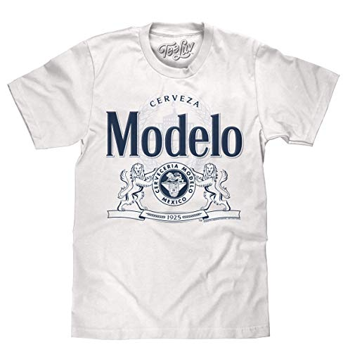 Tee Luv Cerveza Modelo T-Shirt - Modelo Lion Logo Beer Shirt (Medium) White