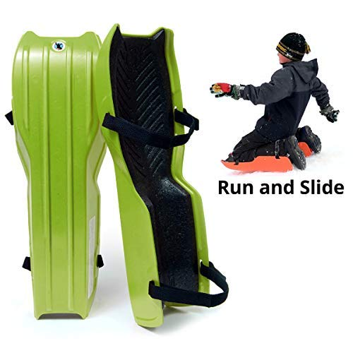 Sled Legs Wearable Snow Sleds - Fun Winter Accessories with Leg Support - Family Friendly Winter Activities - Exciting Winter Fun in The Snow (Action Green, -