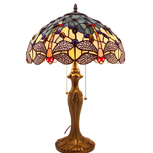 Tiffany Lamps Blue Dragonfly Style 24 Inch Tall for Stained Glass Table Bedside Desk Lamp Night Light Antique Zinc Base for Living Room Bedroom Coffee Table S128 WERFACTORY