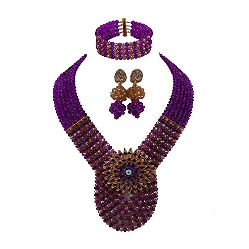 (laanc Womens Wedding 6 Rows Champagne Gold AB and Multicolor Crystal Beads African Jewelry Sets (Purple Champagne Gold AB))