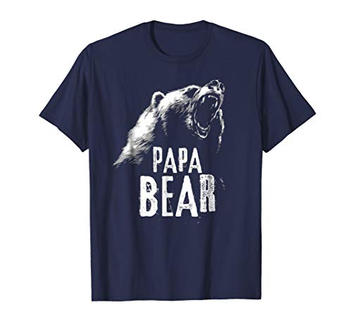 Mens Papa Bear Best Dad TShirt Fathers Day Father Pop Gift Medium Navy