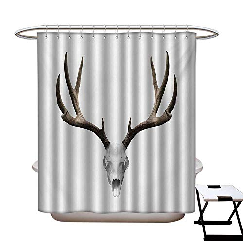 (BlountDecor Antlers Shower Curtains Digital Printing A Deer Skull Skeleton Head Bone Halloween Weathered Hunter Collection Satin Fabric Bathroom Washable W72 x L72 Warm Taupe Pale)