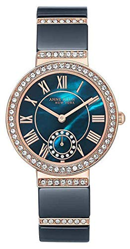 (Anne Klein 12/2300NVRG Rose Gold Tone/Navy Crystal Accent Women's Watch 1274394)