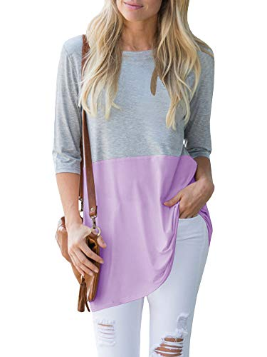 Saikesigirl Womens 3/4 Sleeve Shirts Long Tunic Tops Color Block Summer Fall Casual Loose Cotton Blouse