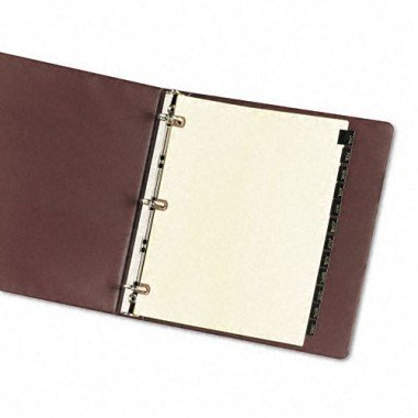 Avery Consumer Products Products - Black Leather Tab Dividers, Jan-Dec, 12 Tab, 11amp;quot;x8-1/2amp;quot;, Buff - Sold as 1 ST - Black leather tab dividers feature gold-stamped tabs with lettering on both sides and copper-reinforced holes to prevent tearing. Monthly tabs range from January to December. Three-hole punched buff paper contains 30 percent post-consumer material.