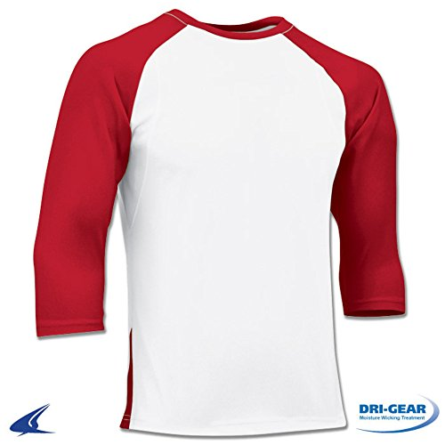MENS ADULT DRI-FIT POLYESTER 3/4 SLEEVE BASEBALL T-SHIRT BS24 ADULT WHITE, SCARLET SLEEVE M 4 Adult T-shirt