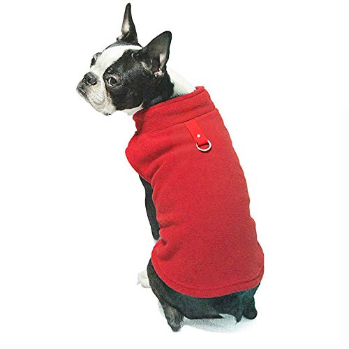 Idepet Autumn Winter Fleece Dog Clothes Warm Soft Pet Clothing Dog Coat Jackets for Chihuahua French Bulldog Pug (XL, Red) ()