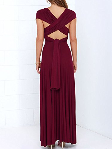 Way Gown Strap Dresses Wrap Convertible Multi PERSUN For Dresses Infinity Womens Maxi Burgundy Fx1TwWn