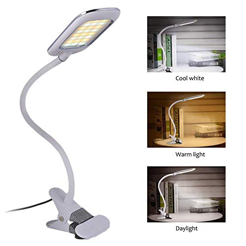 Eyocean Clamp Reading Light for Bed Headboard, Clip Light with 3 Color Modes,11 Dimming Levels, Clip on Desk Lamp, Adapter Included, 5W, White