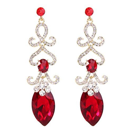 BriLove Women's Fashion Crystal Wedding Bridal Hollow Flower Love Heart Chandelier Dangle Earrings Ruby Color Gold-Toned
