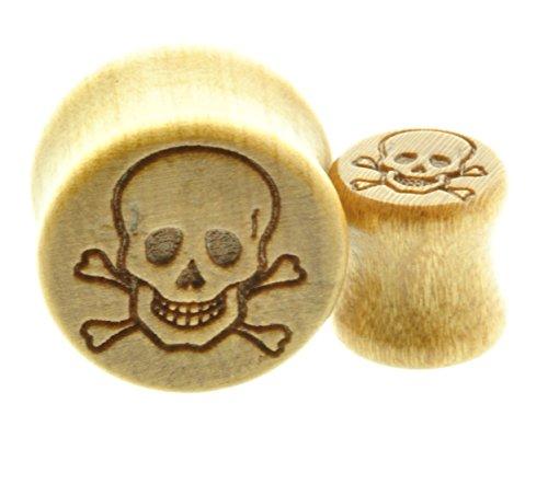 "Wooden Ear Plug with Engraved Skull & Crossbones Design Sold As a Pair -00 Gauge -1/2"" - 9/16"" - 5/8"" - 11/16"""