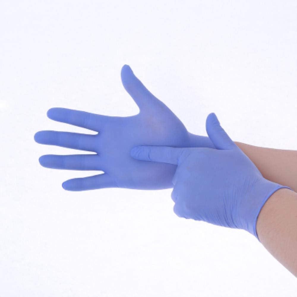 SHOUPI 100 Piezas Guantes de nitrilo Desechables sin Polvo a Prueba de Agua duraderos Guantes de Examen médico de protección médico Especial Cocina casera Especial, púrpura, l