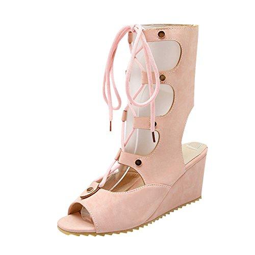 Una PERLINA 2 Gladiatore Alla Caviglia Scarponi rosa chiaro 8 UK