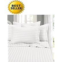 Elegant Comfort 6-Piece Stripe Bed Sheet Set, King White