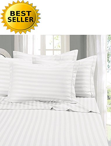 Elegant Comfort 1 Bed Duvet Cover Set on Amazon - Super Silky Soft - 1500 Thread Count Egyptian Quality Luxurious Wrinkle, Fade, Stain Resistant 3-Piece STRIPE Duvet Cover Set, King/Cal-King, White (Dobby Set Duvet Stripe)