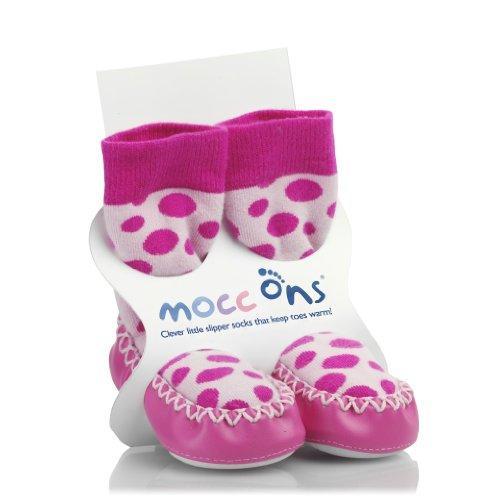 - Mocc Ons Moccasin Style Slipper Socks - 18-24 Months, Pink Spots