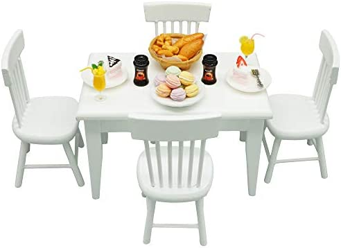 1:12 Dollhouse Kitchen Furniture Set (32pcs) - Dining TableChair and Others - Environmentally Friendly Material Great Gift for Child (White)