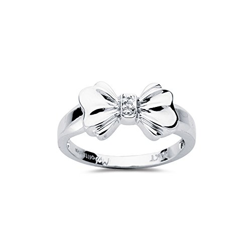 - Vogati 0.01 Cts SI2-I1 Clarity & I-J Color Diamond Solitaire Bow Ring in 10K White Gold-8.5