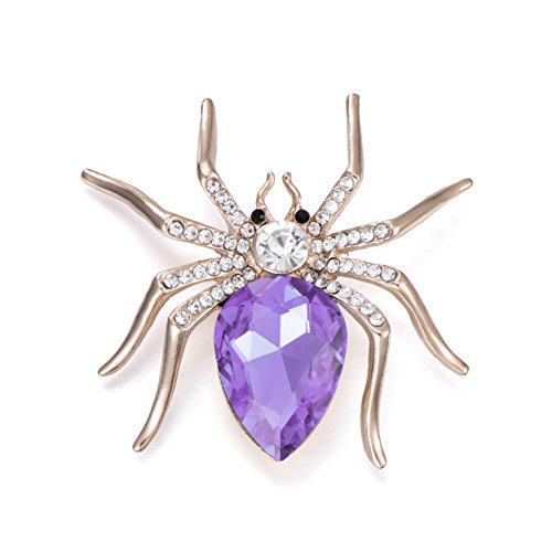Golden Tone scientific ruby White Transparent Red Spider Rhinestones Charm Brooch Pin for girl women (Purple)