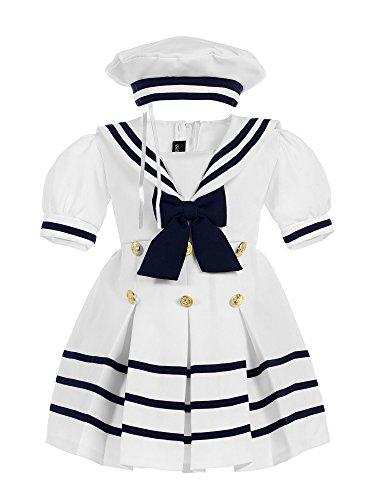 Bello Giovane Baby Toddler Girls Nautical Sailor Outfit Dress 4 Piece Set