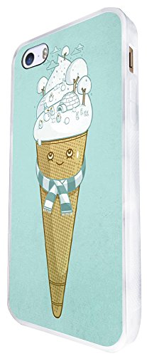 1337 - Cool Fun Trendy Cute Kawaii Ice Cream Candy Cartoon Sketch Illustration Design iphone SE - 2016 Coque Fashion Trend Case Coque Protection Cover plastique et métal - Blanc
