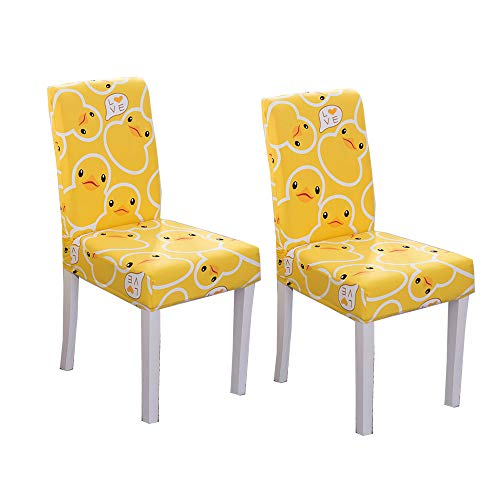 HIKTY Dining Chair Slipcover Spandex Chair Covers Pattern Removable Stretchable Banquet Kitchen Chair Seat Covers Protector Washable Short Dining Chair Protector Cover Seat (Set of 2, Duck)