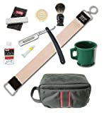 Dovo Straight Razor Paste Brush Soap Mug Leather Strop Stone 9 Pcs Shaving Kit
