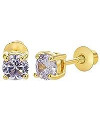 18k Gold Plated June Purple Crystal Screw Back Earrings 4mm
