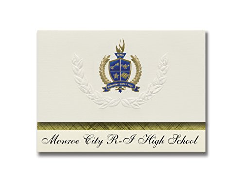Signature Announcements Monroe City R-I High School (Monroe City, MO) Graduation Announcements, Presidential style, Elite package of 25 with Gold & Blue Metallic Foil -