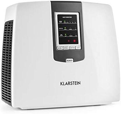 KLARSTEIN Tramontana White Edition - Purificador de Aire 6 en 1, Ionizador, Prefiltro, Filtro HEPA, Filtro carbón Activo, Esterilizador UV, Ozono, 25 m², Difusor de fragancias, Control Remoto, Blanco