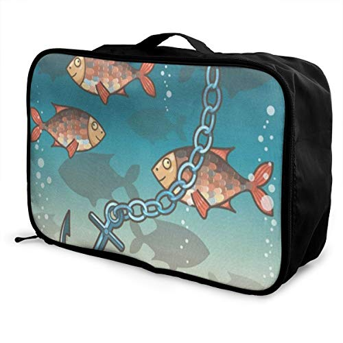- Travel Bags Anchor In The Water Near Tropical Island Portable Handbag Special Trolley Handle Luggage Bag