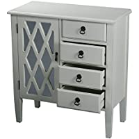 Heather Ann Creations 4 Drawer Wooden Accent Chest and Cabinet, Diamond Pattern Grille with Mirrored Backing, 32H x 29.5W, Antique White