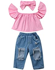 Canis Baby Girls' 3Pcs Off Shoulder Top Holes Denim Jeans Headband Outfits Set