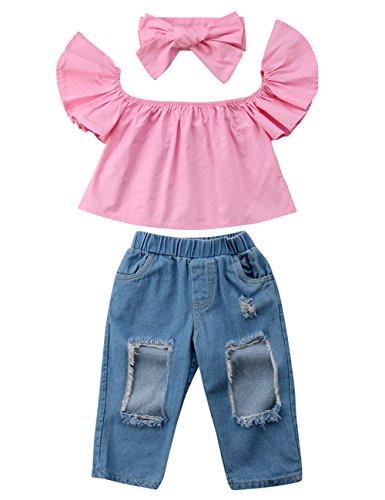 3pcs Baby Girls Kids Off Shoulder Lotus Leaf Top Holes Denim Jeans Headband Outfits Set (2-3Y, Pink)