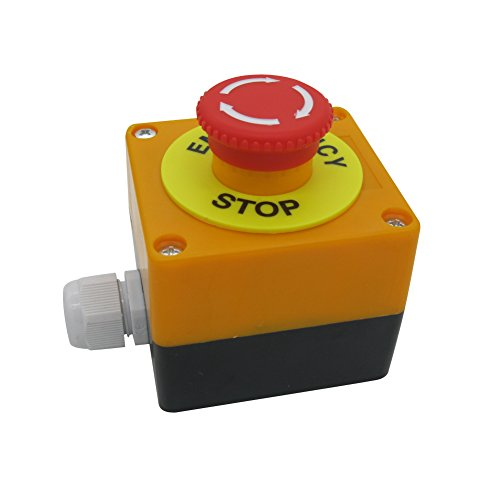 TWTADE/Red Sign Mushroom Emergency Stop Push Button Switch Station 1 NC 1 NO 440V 10A Normally Closed Stop Switch boxQuality assurance for 3 years