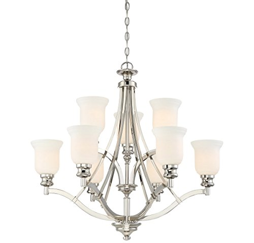 Minka Lavery Chandelier Lighting 3299-613 Audrey's Point, 9-Light 900 Total Watts, Polished Nickel For Sale