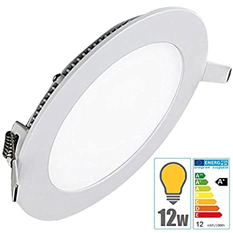 Foco led empotrable redondo en techo Extraplano 12W Blanco Cálido 3000°K TechBox: Amazon.es: Iluminación