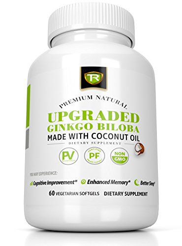 Extra Strength Ginkgo Biloba 120mg & Coconut Oil For Enhanced Cognitive Benefits and Sleep Quality - 60 Vegetarian Soft Gel Capsules