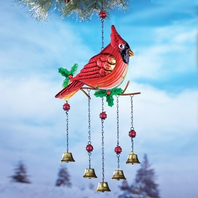 Vibrant Glass Cardinal Bird Windchime Christmas Outdoor Y...
