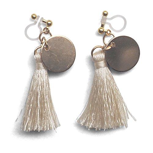 Miyabi Grace Women White Fringe Invisible Clip On Dangle Earrings Coin Tassel Gold tone (White)