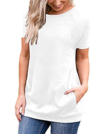 c743fa4abf96 Muhadrs Women s Short Sleeve Casual Tunic Tops Loose Blouse Shirts with  Pockets