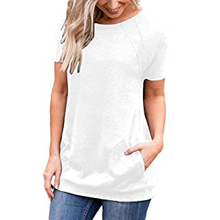 Muhadrs Womens Short Sleeve Casual Round Neck Loose Tunic Top Blouse T-Shirt (L, White)