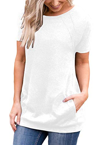 Sleeve Casual Round Neck Loose Tunic Top Blouse T-Shirt (L, White) ()