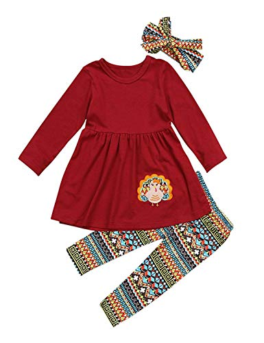 (3Pcs Kids Toddler Baby Girls Turkey T-Shirt Top Dress+Pants+Headband Thanksgiving Outfit Clothes Set (Wine Red, 4-5 Years))