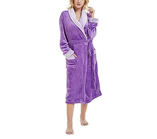 Women's Winter Lengthened Plush Shawl Bathrobe Sleepweer Long Sleeved Coat Sleepwear Nightdress,Purple,XXL