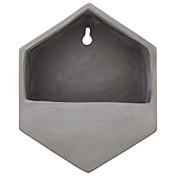 Rivet Modern Hexagonal Earthenware Wall Mount Planter, 7.7H, Grey